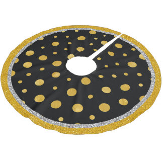 Elegant polka dots - svart guld julgransmatta borstad polyester