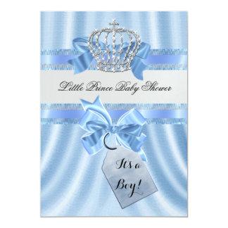Elegant Prince Kröna för baby showerpojkeblått 12,7 X 17,8 Cm Inbjudningskort