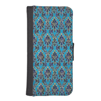 Elegant prydd med ädelsten damast på blått iPhone 5 plånböcker