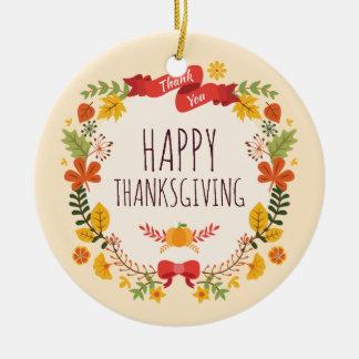 Elegant prydnad för vintagehappy thanksgiving | julgransprydnad keramik