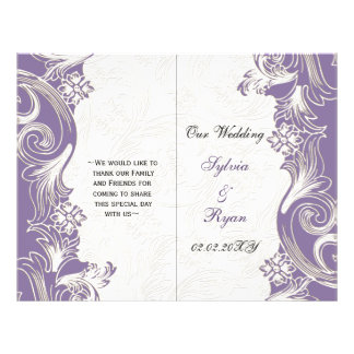 Elegant purpurfärgad blom- biveckbröllopsprogram flygblad designs