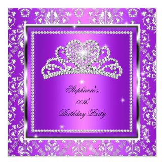 Elegant purpurfärgad damastast fyrkantigt 13,3 cm inbjudningskort