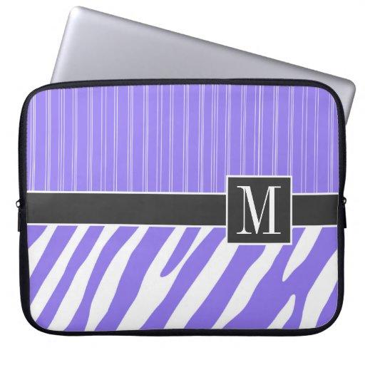 Elegant purpurfärgad zebra ränder datorskydds fodral