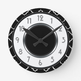 Elegant Quatrefoil Monogram - svart vit Rund Klocka