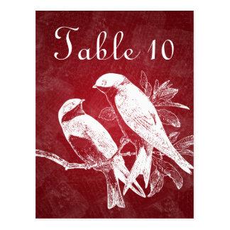 Elegant röd bordsnummerlove birds vykort