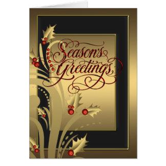 Elegant röd guld- järnekkristenjulkort hälsningskort
