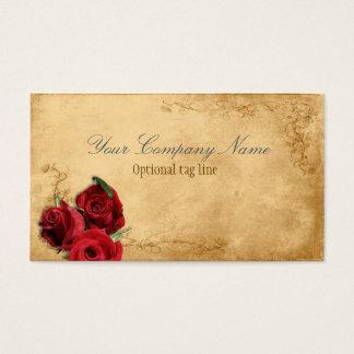 Elegant röd rosvintageantikvitet visitkort
