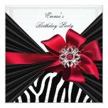 Elegant röd svart vit för födelsedagsfestsebra inbjudningskort