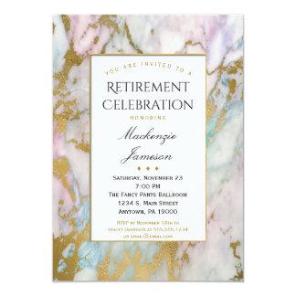 Elegant rosa guld- marmorpensioninbjudan 12,7 x 17,8 cm inbjudningskort