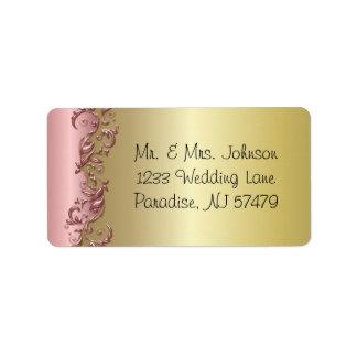 Elegant rosa Mauve & guld- Florid bröllopdesign Adressetikett