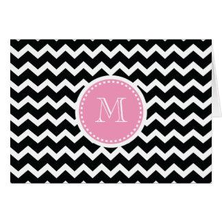 Elegant rosa och svart Retro sparreMonogram Hälsningskort
