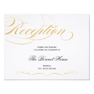 Elegant Script Reception Card - Gold & Black 10,8 X 14 Cm Inbjudningskort