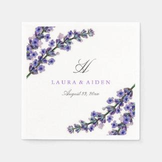 Elegant servett för lavendelMonogrambröllop