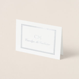 Elegant silver- & gråttMinimalistMonogram Folierat Kort