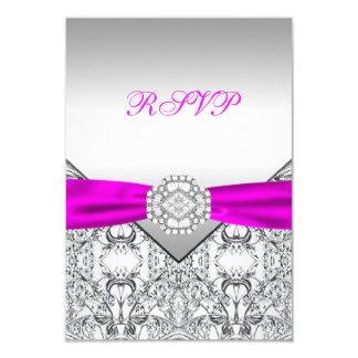 Elegant silver- och FuchsiaOSA 8,9 X 12,7 Cm Inbjudningskort