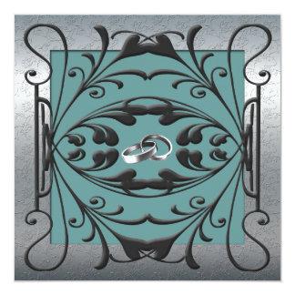 Elegant silver-, svart- och blåttbröllopinbjudan fyrkantigt 13,3 cm inbjudningskort