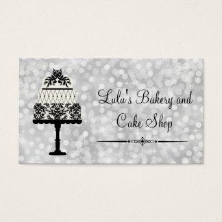 Elegant silverbagerivisitkort med tårtan visitkort