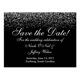Elegant silverglitterbröllop spara datum vykort