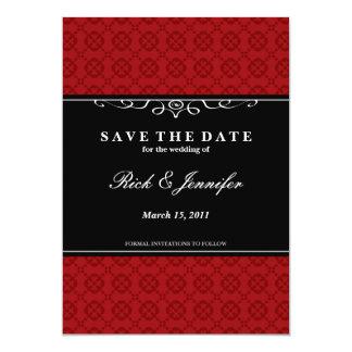 Elegant spara (den röda) daterainbjudan, 12,7 x 17,8 cm inbjudningskort