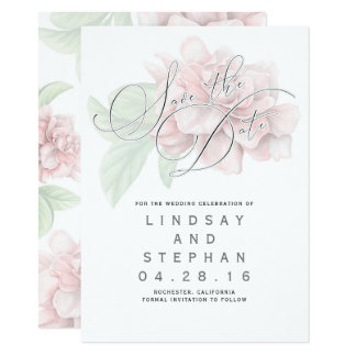 Elegant spara för mjuk rosablommatypografi datera 11,4 x 15,9 cm inbjudningskort