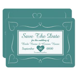 Elegant spara för Monogram för krickabröllophjärta 12,7 X 17,8 Cm Inbjudningskort