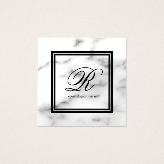 Elegant sten för marmor för monogrammallvit fyrkantigt visitkort