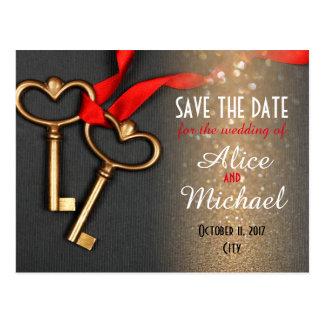 Elegant stilbröllop spara datum vykort