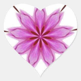Elegant strålpunktOrchidKaleidoscope Hjärtformat Klistermärke