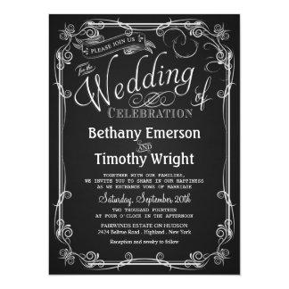 Elegant svart tavlabröllopinbjudan inbjudningskort