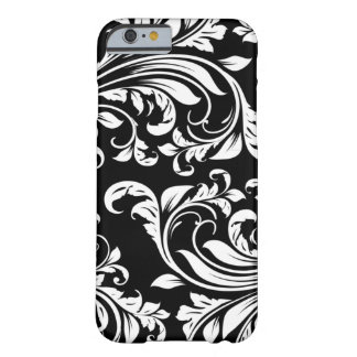 Elegant svartvit blom- damast barely there iPhone 6 fodral