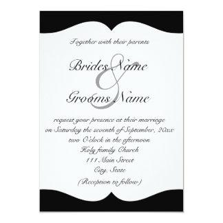 Elegant svartvit bröllopinbjudan 12,7 x 17,8 cm inbjudningskort