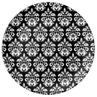 Elegant svartvit damast porslinstallrik