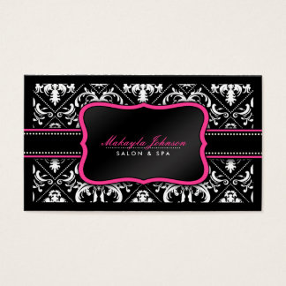 Elegant svartvit damastast salong och Spa Visitkort