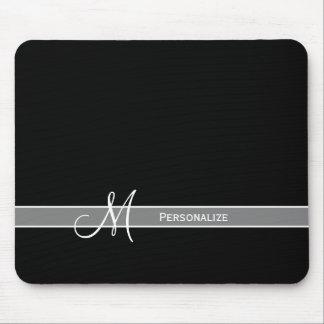 Elegant svartvit Monogram med namn Musmatta