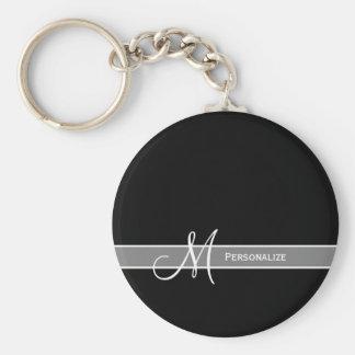 Elegant svartvit Monogram med namn Nyckel Ringar