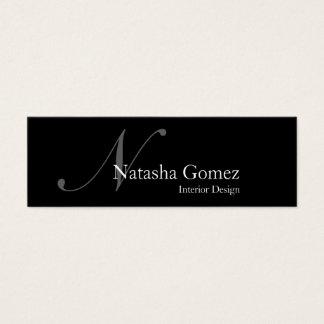 Elegant svartvit Monogramvisitkort Litet Visitkort