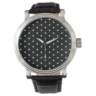 Elegant svartvit Retro polka dots Armbandsur