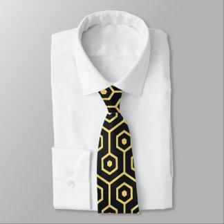 Elegant tie för svart för art décomönsterguld slips