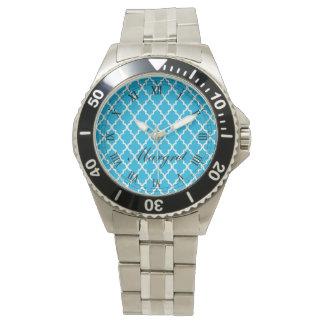 Elegant trendig, quatrefoil för klassikeraquablått armbandsur