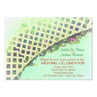 Elegant tropisk trädgårds- bröllopinbjudan 12,7 x 17,8 cm inbjudningskort