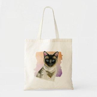 Elegant vattenfärgmålning för Siamese katt Tygkasse