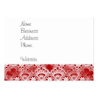 Elegant vintage bedrövad röd vitsnöredamast visitkort mallar