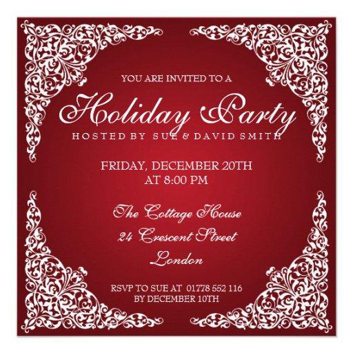 Elegant vintage virvlar runt den röda julfesten skräddarsydda inbjudan