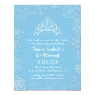Elegant vintersnöPrincess flick kalas 10,8 X 14 Cm Inbjudningskort