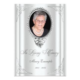 Elegant vit beställer av tjänste- sörjande kort 12,7 x 17,8 cm inbjudningskort