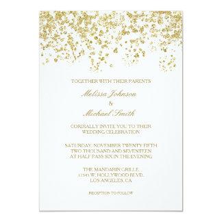 Elegant vit och guld- polka dotskonfettibröllop 12,7 x 17,8 cm inbjudningskort