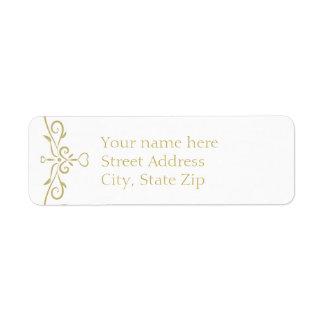 Elegant vit- och guldMonogram Returadress Etikett