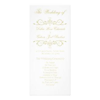 Elegant vit- och guldMonogrambröllopsprogram Reklamkort