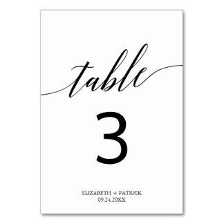 Elegant vit- och svartCalligraphybordsnummer