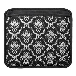 Elegant vit på svart damast sleeve för iPads